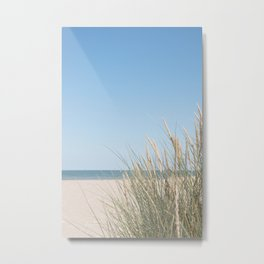 Dune grass and blue skies - Normandy French beach - travel photography Metal Print