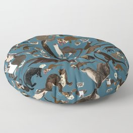 Otters of the World pattern in teal Floor Pillow