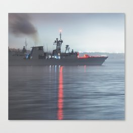 Warship Weighs Anchor Canvas Print