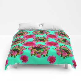 GREEN PEACOCK & PINK ROSE PATTERN ART Comforters
