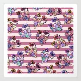 Modern geometric pink lavender ivory striped cactus floral Art Print