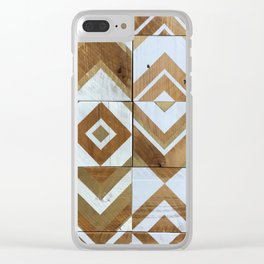 White Chevron Painting on Reclaimed Wood Clear iPhone Case