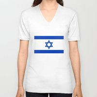 palestine V-neck T-shirts featuring The National flag of the State of Israel by Bruce Stanfield