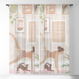 Yoga Girl Power with cat & plants Sheer Curtain