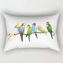 Winter Parakeets & Cockatiels Rectangular Pillow