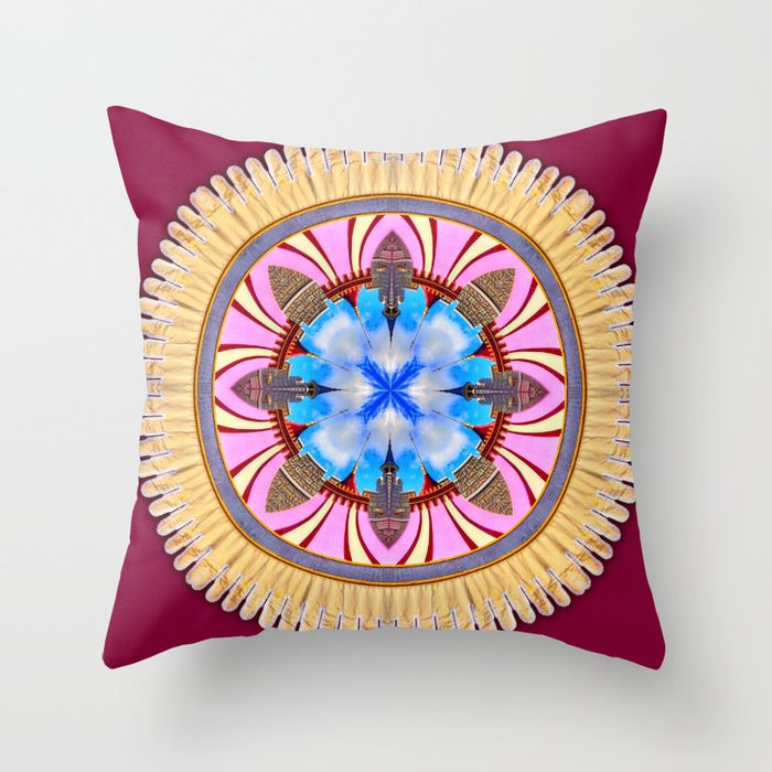 Castle Spires, kaleidoscope Throw Pillow