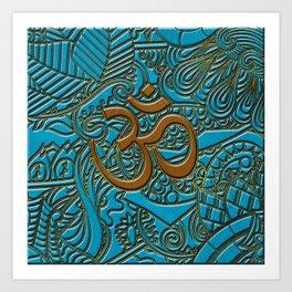 Brown on Teal Leather Embossed OM symbol Art Print