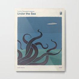 Jules Verne's Twenty Thousand Leagues Under the Sea - Minimalist literary design, literary gift Metal Print