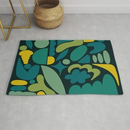 Modern Organic Abstract / Green-Yellow to Green-Blue Hues on Dark Background Rug