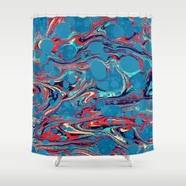 Vintage Marble Blue Watercolor Ink Abstract Pattern Shower Curtain