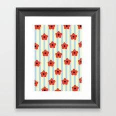 Poppies & Stripes Framed Art Print
