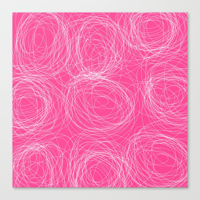 Abstract white circles and dots - abstract pattern - on pink Canvas Print