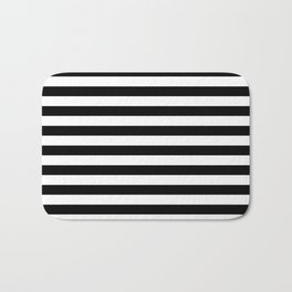 Black and White Horizontal Strips Bath Mat