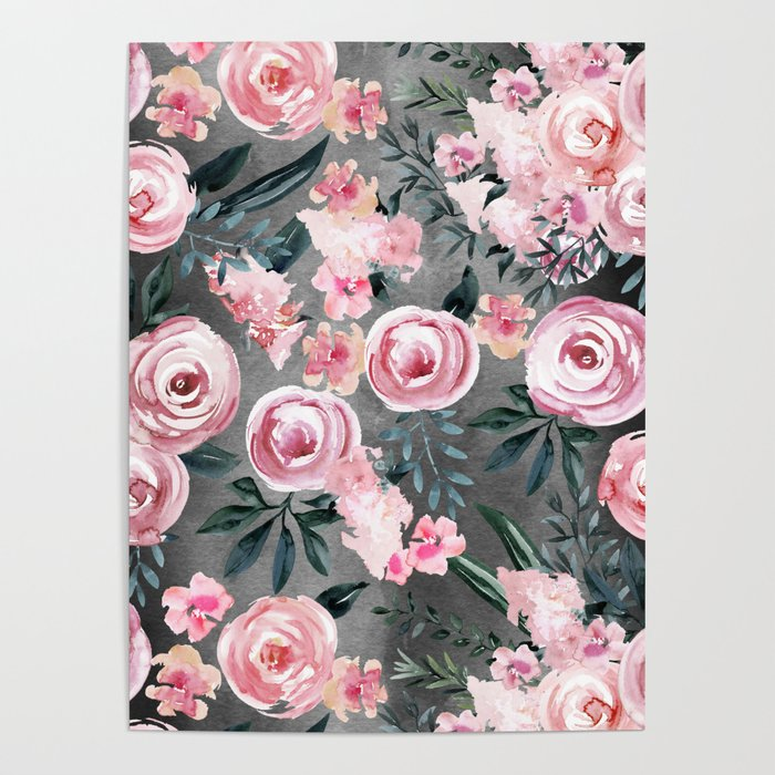 Night Rose Garden Poster