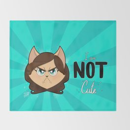 I am NOT cute (Head with text) Throw Blanket