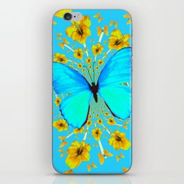 BLUE BUTTERFLY YELLOW AMARYLLIS PATTERNED ART iPhone Skin