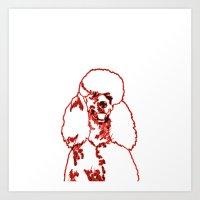 poodle Art Prints featuring Poodle by Mike van der Hoorn