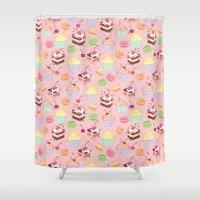 macaroon Shower Curtains featuring sweet pattern aka cake , cupcake and macaroon by Marta Olga Klara