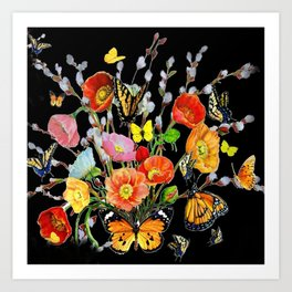 Black Butterfly Bouquet  Art Print