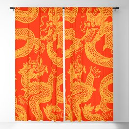 Red and Gold Battling Dragons Blackout Curtain