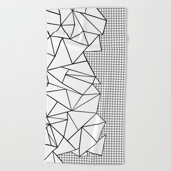 Abstraction Outline Grid on Side White Beach Towel