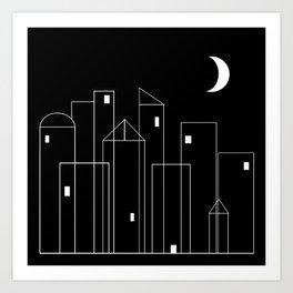 Nightowls (Ghost Town) - Line Art Drawing Art Print