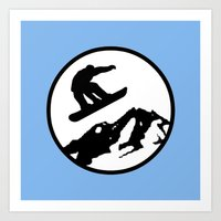 snowboarding Art Prints featuring snowboarding 1 by Paul Simms