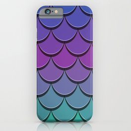 Girly Cute Blue Purple Lilac Teal Green Pink Ombre Mermaid Scales iPhone Case