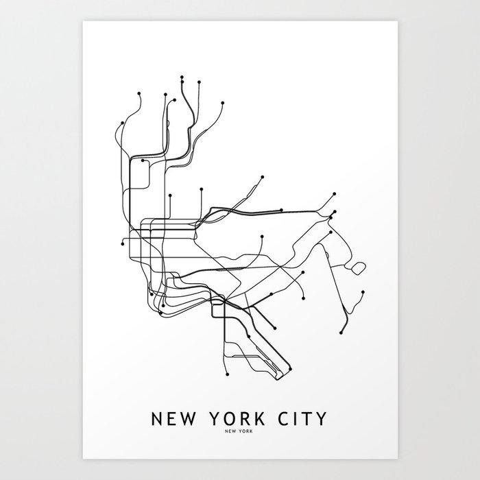 New York City White Subway Map Kunstdrucke