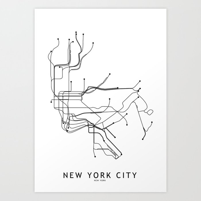 Black And White Subway Map.New York City White Subway Map Art Print By Multiplicity