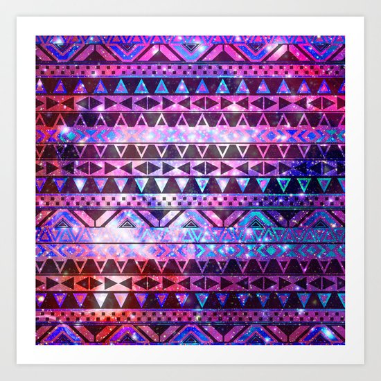 Head In Space | Girly Andes Aztec Pattern Pink Teal Nebula Galaxy Art Print