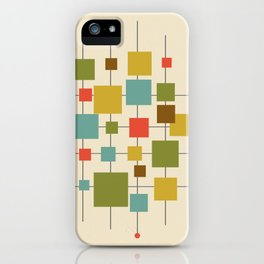 Mid-Century Modern Geometric Abstract Squares - Multi-colour iPhone Case