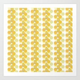 Refreshing Yellow Vintage 70s Geometric Pattern Circles Art Print