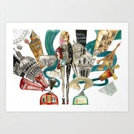 london to paris Art Print