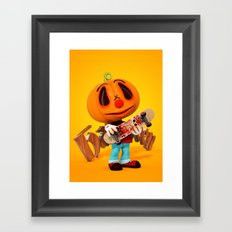 Pumpkin Boy Framed Art Print
