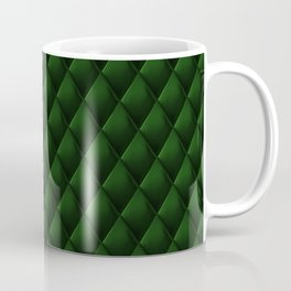 Dark Emerald Green Polished Quilted Leather Padding Coffee Mug
