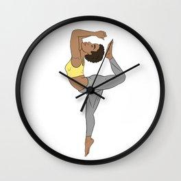 Calm Yellow Kemetic Yoga Pose Wall Clock