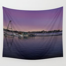 Snowy Chasewater Water-ski Club At Sunrise Wall Tapestry