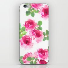 Raspberry Pink Painted Roses on White iPhone Skin