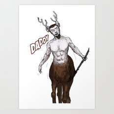 Santa's present, from reindeer. Art Print
