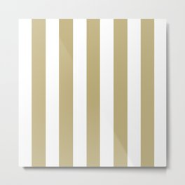 Sand grey - solid color - white vertical lines pattern Metal Print