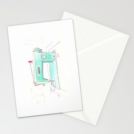 Vintage White 43-8 Sewing Machine in Aqua Stationery Cards