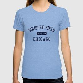 Wrigley Field Chicago Tri Blend Grey Heather Crew Neck softball T-shirt