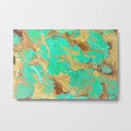 Paint the World Gold Abstract Metal Print