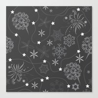 Stars on a string with snowflake and fireworks Canvas Print