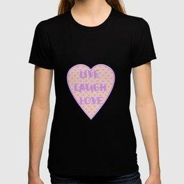 Lavender LIVE LAUGH LOVE Polka Dots Peach T-shirt