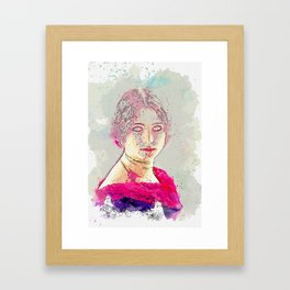 the French Ballet Dancer Cleo De Merode (1875 - 1966) taken in 1903 watercolor by Ahmet Asar Framed Art Print