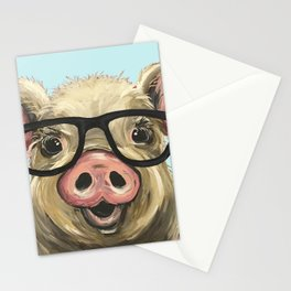 Cute Pig Painting, Farm Animal with Glasses Stationery Cards