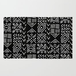 Mudcloth 3 black and white minimal pattern linocut print abstract Rug