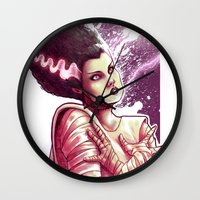 bride Wall Clocks featuring BRIDE by Lorena Carvalho